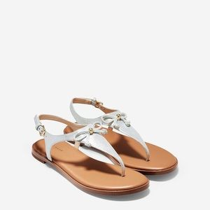 Cole Haan Findra Silver Metallic Thong Sandals